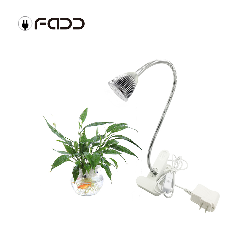 OFADD 5W LED Grow Light Garden Flowering Plant Lamps Flexible 5 LED Grow Light with Clip Water culture shed high yield